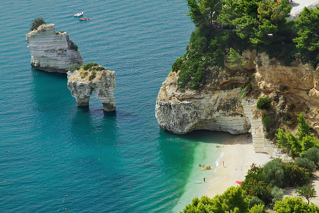 Baia delle Zagare beach is situated in Gargano, region of Apulia, Italy - in a wonderful bay on a stretch of land where the high rises overlooking the sea coast...