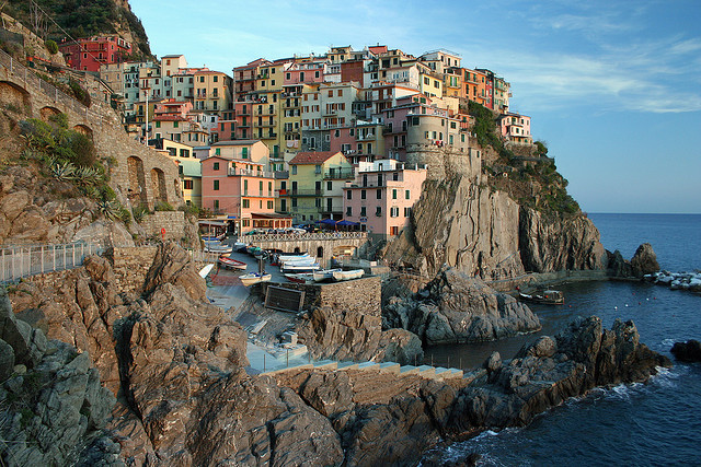 Manarola - a beautiful small town in Cinque Terre, in the province of Liguria, Italy.