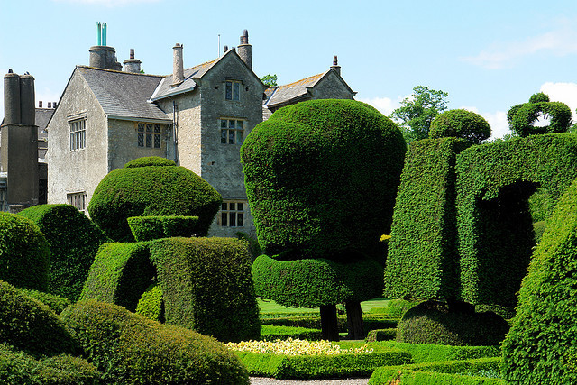 by The Art of English Gardens on Flickr.The gardens of Levens Hall, a manor house in Cumbria, England.