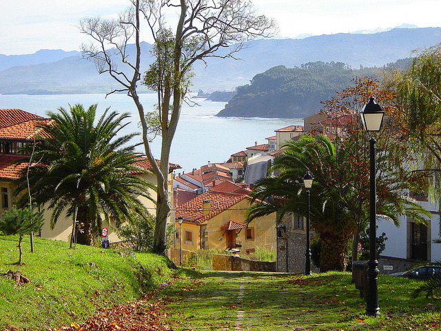 Beautiful village of Lastres in Asturias, Spain ).