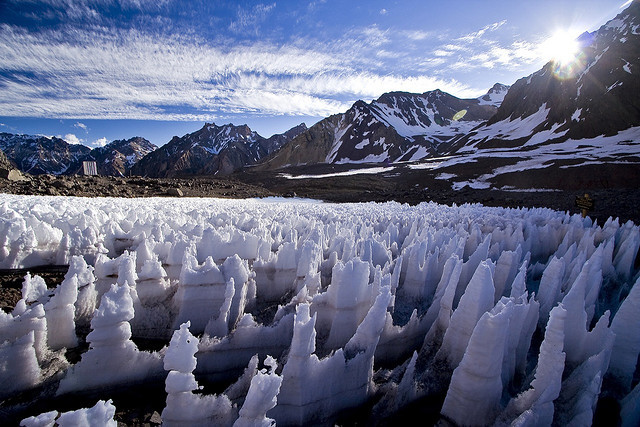 Penitentes at Plaza de Mulas, base camp for climbers approaching Mount Aconcagua, Argentina