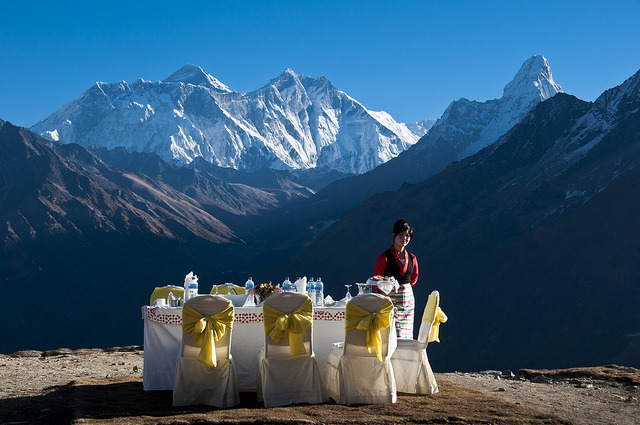 Table with a view with Mount Everest in the background at Yeti Mountain Lodge, Nepal