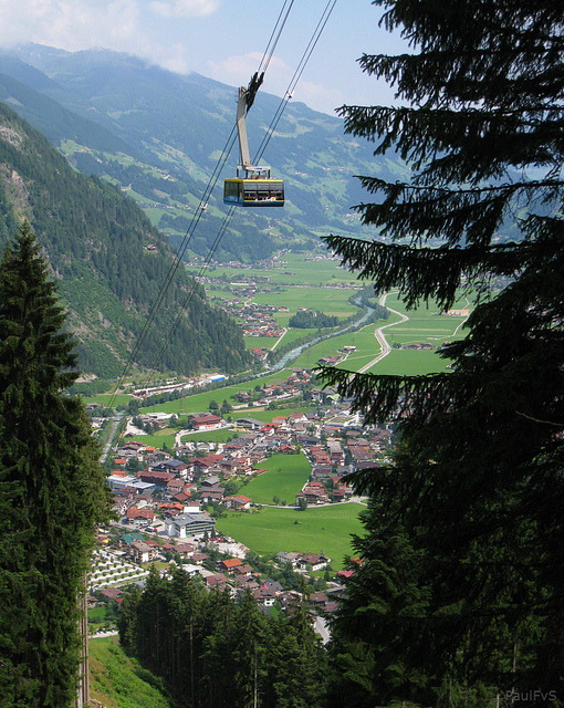 "Ahornbahn - Austria's largest cable car also used as a ""floating cafe"" when the weather is bad, Mayrhofen"