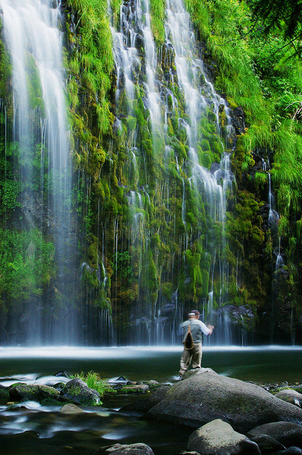 Fisherman at Mossbrae Falls, California, USA