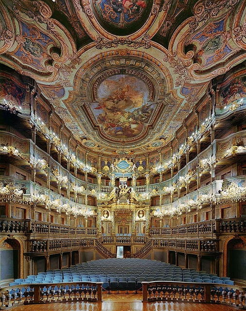 Amazing baroque architecture inside Margravial Opera House in Bayreuth, Germany