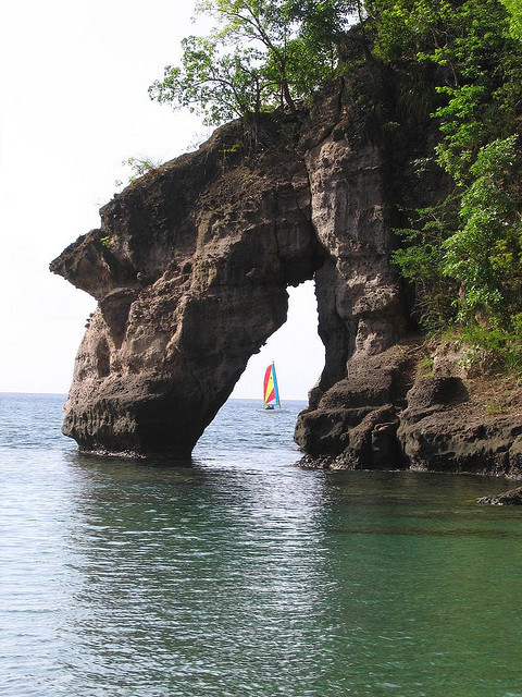 The arch at Secret Beach, Dominica