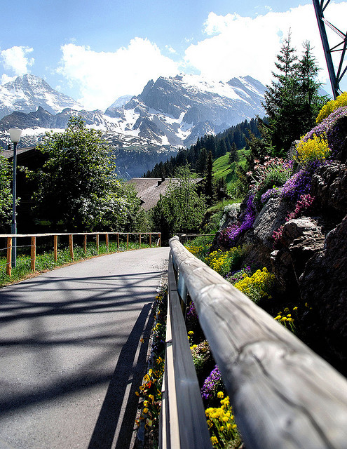 Hike from Murren to Gimmewald in Lauterbrunnen Valley, Switzerland