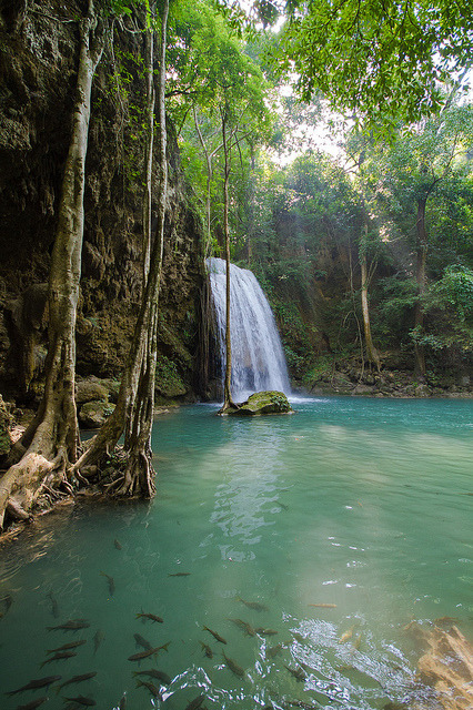 Scenic waterfalls in Erawan National Park, Thailand