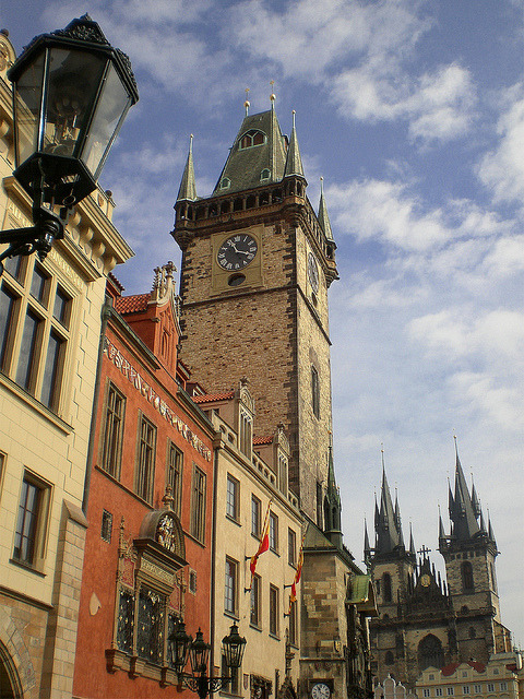 Clock Tower and Church of Our Lady in Prague, Czech Republic