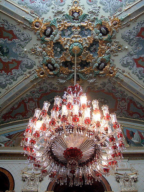 Beautiful chandelier inside Dolmabahce Palace, Istanbul, Turkey