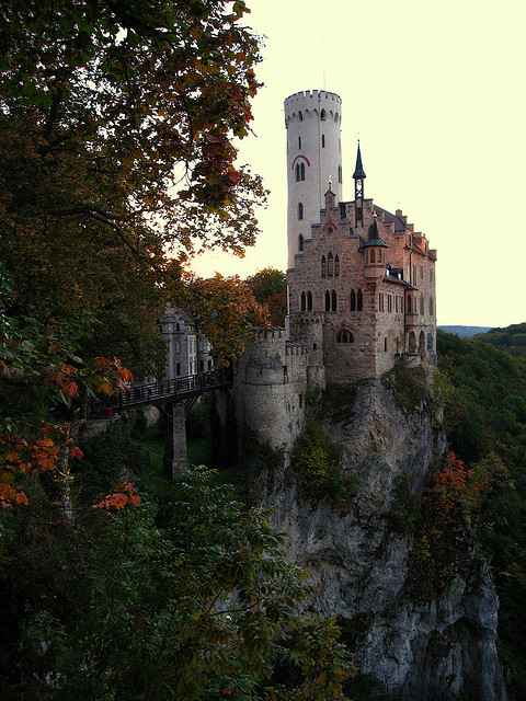 Lichtenstein Castle, situated on a cliff in the Swabian Jura, Germany