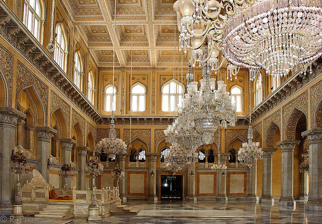 Hanging chandeliers inside Chowmahalla Palace in Hyderabad, India