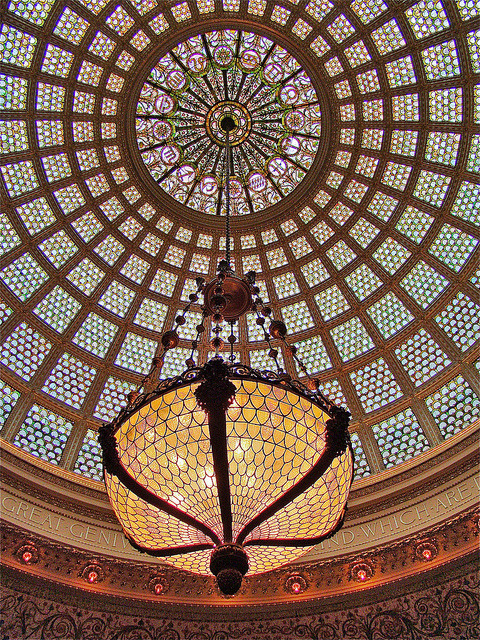Tiffany Dome details inside Chicago Cultural Center, USA