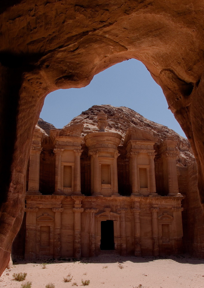 Petra Monastery from inside a typical cave in the area, Jordan