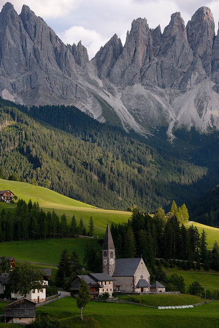 Lovely villages of the Dolomites, Santa Maddalena di Funes, Italy