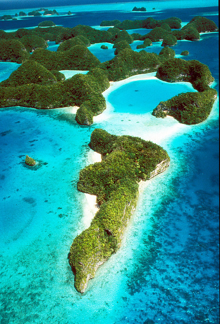 Aerial view of the Rock Islands of Palau