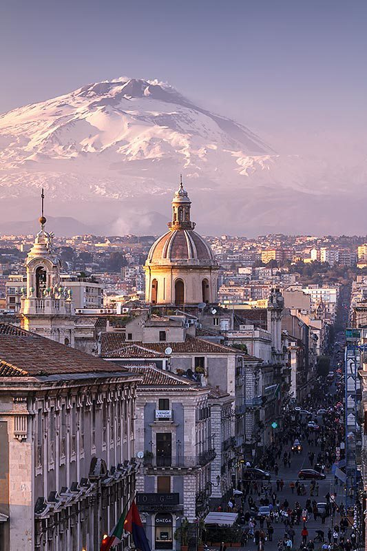 Catania and Mount Etna in the background, Sicily / Italy