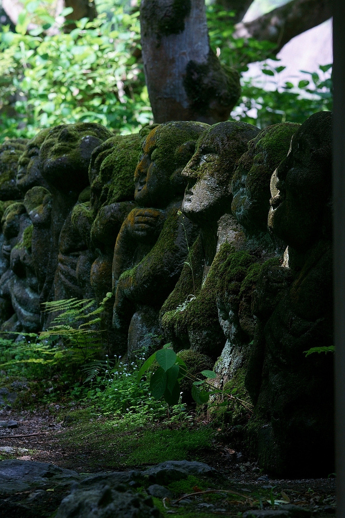 """ Rakan sculptures at Otagi Nenbutsu-ji Temple / Japan ."""