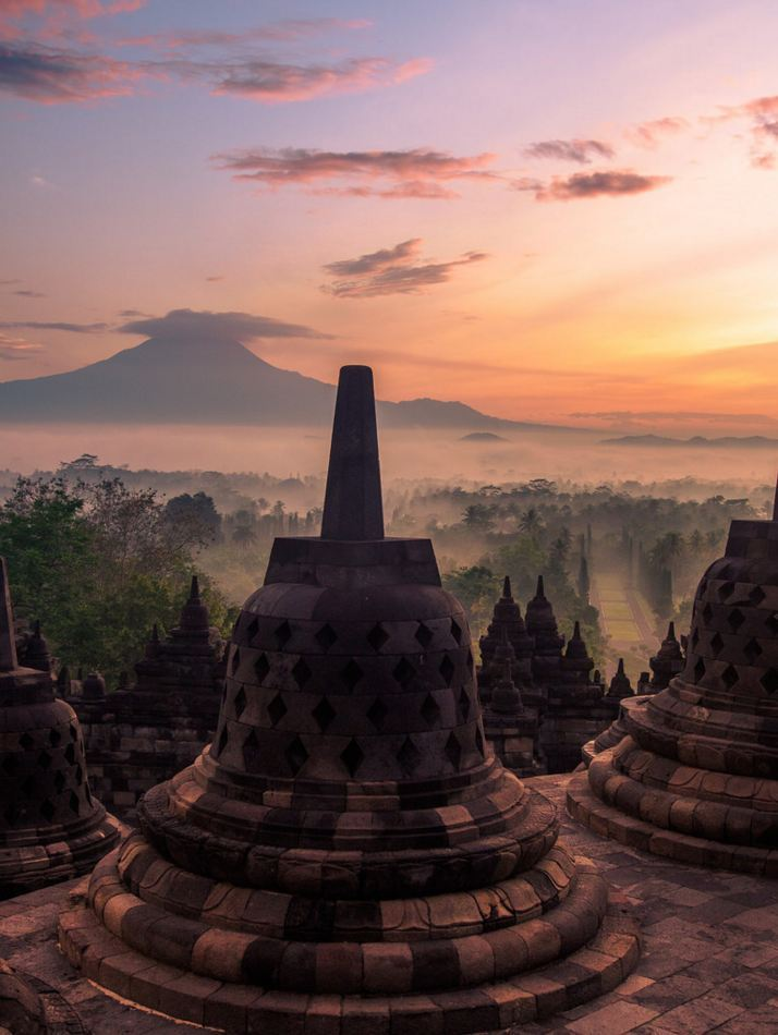 Borobudur at dawn / Indonesia